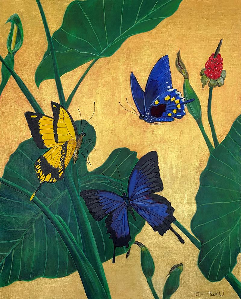 クワズイモに舞う蝶たち